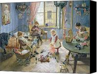 Crib Painting Canvas Prints - The Nursery Canvas Print by Fritz von Uhde