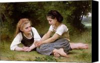 Bouguereau; William-adolphe (1825-1905) Canvas Prints - The Nut Gatherers Canvas Print by William-Adolphe Bouguereau
