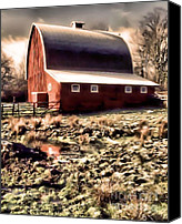 Farming Barns Canvas Prints - The Ol Red Barn Canvas Print by Tisha McGee