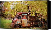 Old Trucks Canvas Prints - The Old Bakery Truck Canvas Print by Kathy Jennings