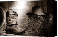 Cowboy Photo Canvas Prints - The Old Boots Canvas Print by Olivier Le Queinec