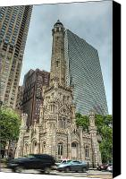 Old Chicago Water Tower Canvas Prints - The Old Chicago Water Tower Canvas Print by Noah Katz