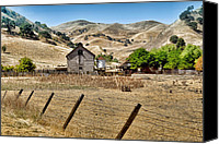 Barbed Wire Fences Canvas Prints - The Old Farmhouse Canvas Print by Andre Salvador