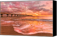Florida Bridge Canvas Prints - The Old Fishing Pier Canvas Print by Debra and Dave Vanderlaan