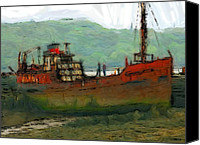 Expressionism Pastels Canvas Prints - The old fishing trawler Canvas Print by Stefan Kuhn
