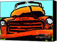 Old American Truck Canvas Prints - The Old Jalopy . 7D8396 . Color Sketch Style Canvas Print by Wingsdomain Art and Photography