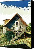 Log Cabin Mixed Media Canvas Prints - The old log cabin guesthouse Canvas Print by David Esslemont