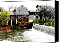 Signed Digital Art Canvas Prints - The Old Mill Canvas Print by Suzanne  McClain