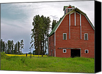 Yellow Trees Canvas Prints - The Old Red Barn Canvas Print by Karon Melillo DeVega