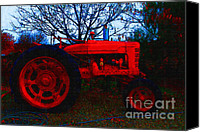 Red Tractors Canvas Prints - The Old Red Tractor . 7D10320 Canvas Print by Wingsdomain Art and Photography