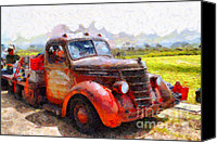 Old American Truck Canvas Prints - The Old Rusty Jalopy . 7D15500 Canvas Print by Wingsdomain Art and Photography