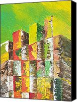 Wood Reliefs Canvas Prints - The Old Stack Of Wood Canvas Print by Roy Penny