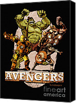 Captain America Canvas Prints - The Old Time-y Avengers Canvas Print by Brian Kesinger