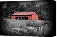 David Dunham Canvas Prints - The Old Tractor Shed colorized Canvas Print by David Dunham