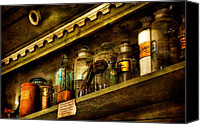 Glass Bottles Canvas Prints - The Olde Apothecary Shop Canvas Print by Lois Bryan