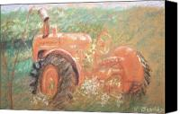 Farming Pastels Canvas Prints - The Ole Allis Chalmers Canvas Print by Ron Bowles