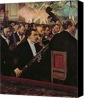 Theater Canvas Prints - The Opera Orchestra Canvas Print by Edgar Degas