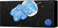 Caricature Painting Canvas Prints - The Original Gummy Bear In Space Canvas Print by Jera Sky