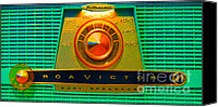 Dial Digital Art Canvas Prints - The Original Ipod . Old Retro RCA Analog Radio . Long Cut Canvas Print by Wingsdomain Art and Photography
