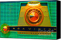Dial Digital Art Canvas Prints - The Original Ipod . Old Retro RCA Analog Radio Canvas Print by Wingsdomain Art and Photography