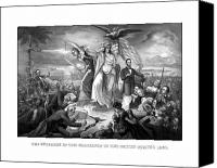 United States Drawings Canvas Prints - The Outbreak Of The Rebellion In The United States Canvas Print by War Is Hell Store