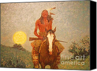 Remington Canvas Prints - The Outlier Canvas Print by Frederic Remington