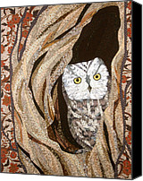 Cloth Tapestries - Textiles Canvas Prints - The Owl at Home Canvas Print by Linda Beach