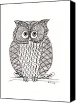 Ink Drawing Canvas Prints - The Owls Who Canvas Print by Paula Dickerhoff