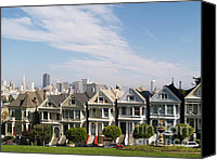 Painted Ladies Canvas Prints - The Painted Ladies of Alamo Square Canvas Print by Alex Cassels