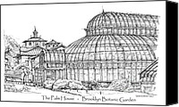 Landscapes Drawings Canvas Prints - The Palm House in Brooklyn Botanic Garden Canvas Print by Lee-Ann Adendorff