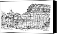 Landscapes Drawings Canvas Prints - The Palm House in Brooklyn  Canvas Print by Building  Art