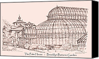 Landscapes Drawings Canvas Prints - The Palm house in pink Canvas Print by Lee-Ann Adendorff