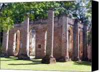 Ruins Canvas Prints - The Palmetto Phoenix Old Sheldon Church Ruins Canvas Print by Elena Tudor