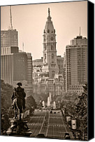 City Hall Canvas Prints - The Parkway in Sepia Canvas Print by Bill Cannon