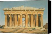 Watercolor On Paper Canvas Prints - The Parthenon Canvas Print by Louis Dupre