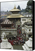 Religious Structures Canvas Prints - The Pashupatinath Temple Canvas Print by James P. Blair