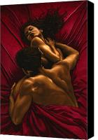 Female Nude Canvas Prints - The Passion Canvas Print by Richard Young