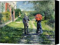 Manor Painting Canvas Prints - The Path Uphil Canvas Print by Gustave Caillebotte