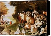 Thanksgiving Art Canvas Prints - The Peaceable Kingdom Canvas Print by Edward Hicks