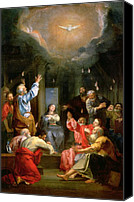 Virgin Mary Painting Canvas Prints - The Pentecost Canvas Print by Louis Galloche