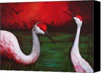 Sandhill Crane Canvas Prints - The People Canvas Print by Bonnie Kelso