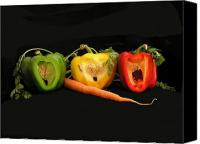 Red And Green Canvas Prints - The Pepper Trio Canvas Print by Carol Milisen