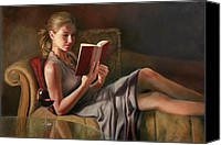 Reading Painting Canvas Prints - The Perfect Evening Canvas Print by Anna Bain