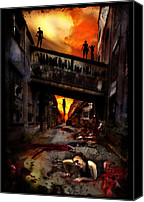 Halloween Digital Art Canvas Prints - The Perimeter Guard Canvas Print by Mandem