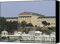 Art Museum Canvas Prints - The Philly Art Museum and Waterworks Canvas Print by Bill Cannon