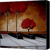 Surreal Landscape Canvas Prints - The Piano Mans Dream Canvas Print by Vickie Warner