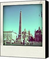 Taxi Canvas Prints - The Piazza del Popolo. Rome Canvas Print by Bernard Jaubert