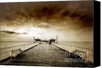 Storm Photo Canvas Prints - the pier at Llandudno Canvas Print by Meirion Matthias