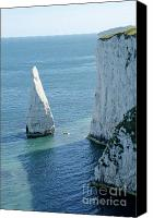 Photographs Photo Canvas Prints - THE PINNACLE stack of white chalk on the Isle of Purbeck Dorset England UK Canvas Print by Andy Smy