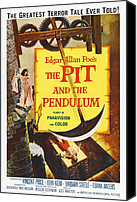 1960s Poster Art Canvas Prints - The Pit And The Pendulum, 1961 Canvas Print by Everett